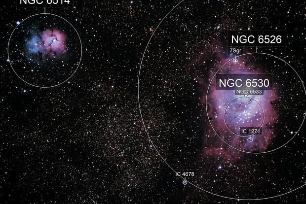 The Trifid (M20) and Lagoon (M8) Nebulae