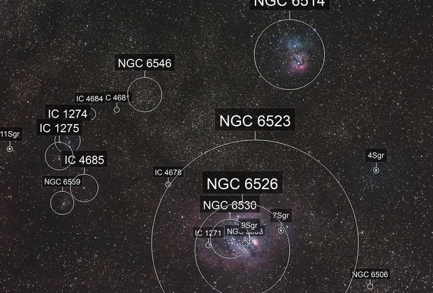 M8 and Trifid Nebula