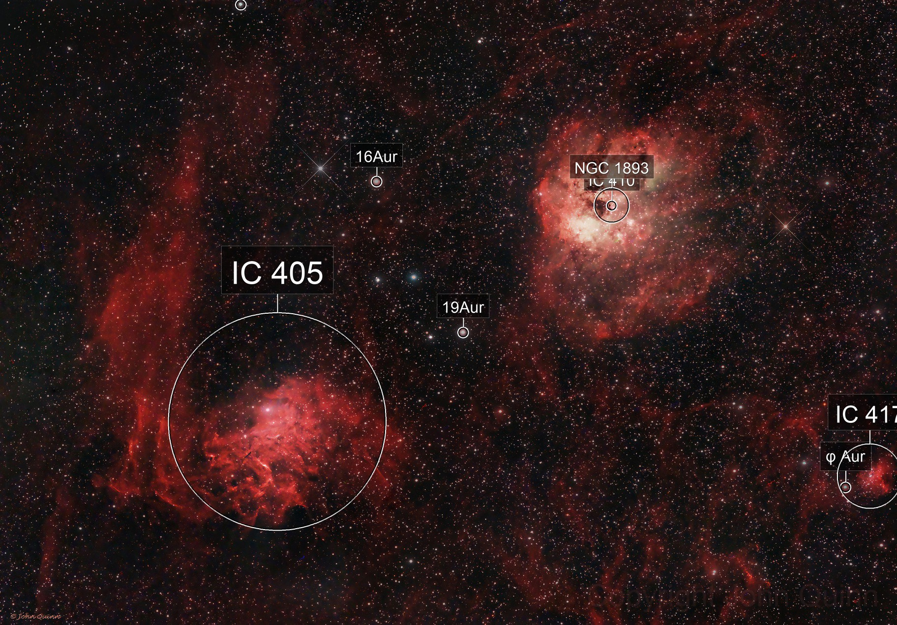 IC 410 IC 405 Tadpole and Flaming Star nebulae