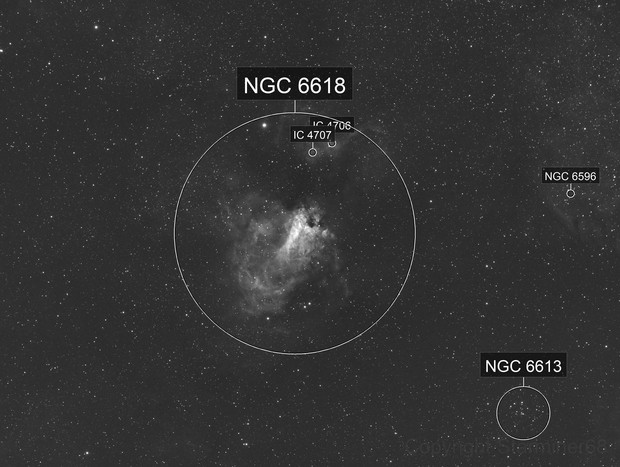 M17 Omega Nebula-Ha-Meade 80 ED triplet-Orion flattener-ASI 1600 MM-Pro