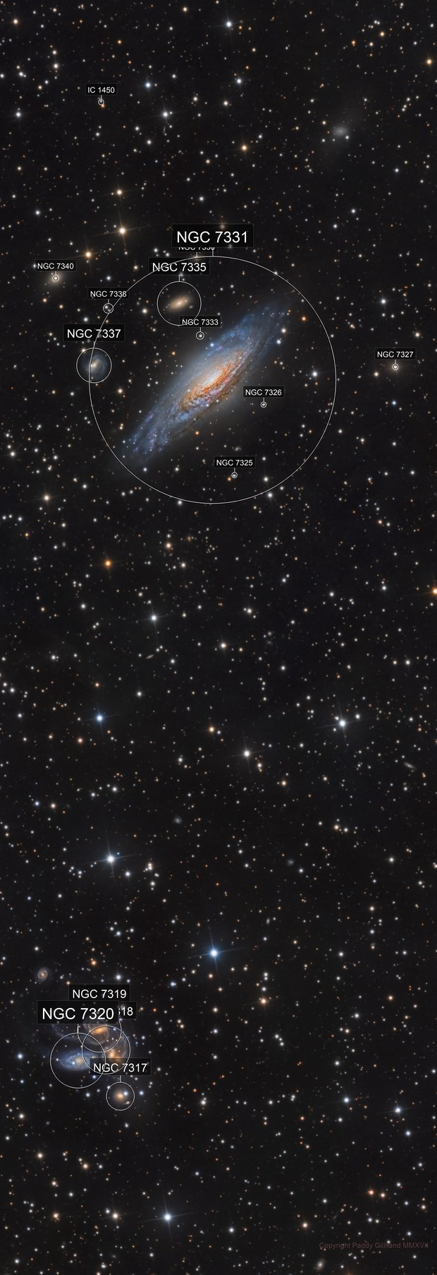 Galaxy Panorama - NGC 7331 and Deer Lick Group to Stephen's Quintet