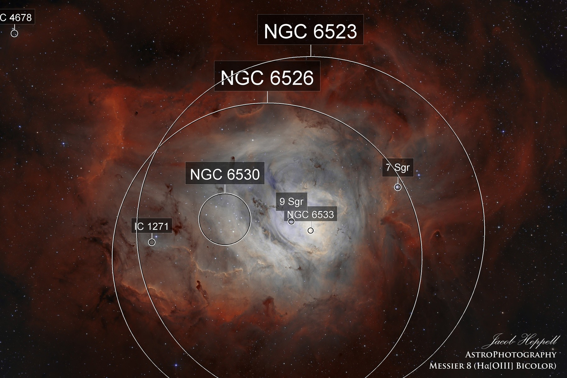Messier 8 (Lagoon Nebula) in Ha[OIII] Bicolor