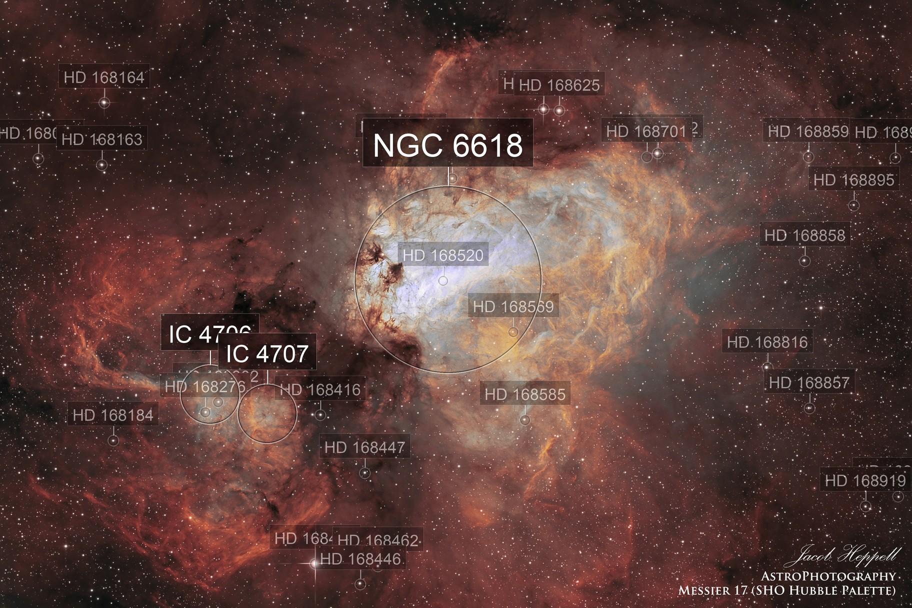 Messier 17 in SHO Hubble Palette