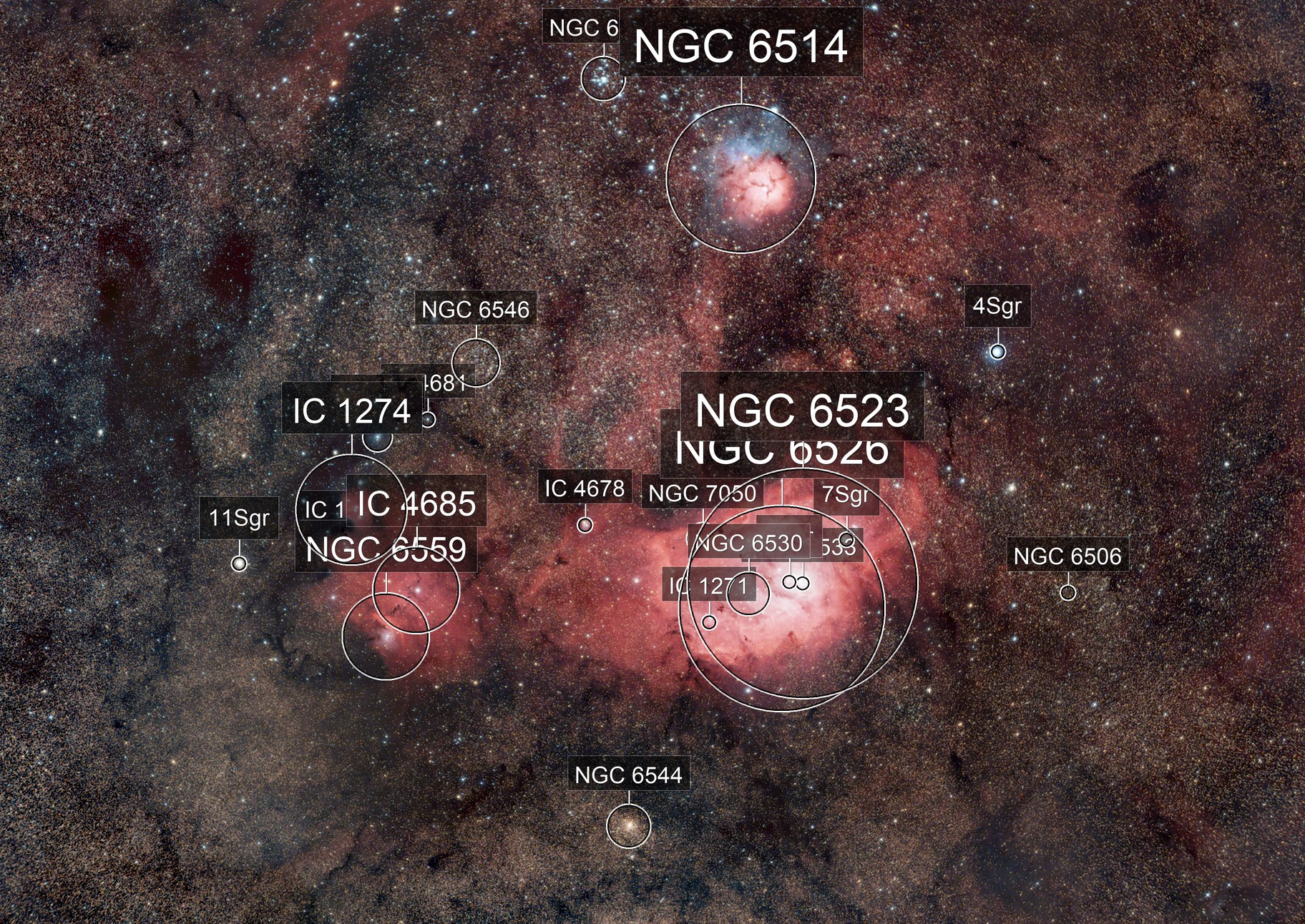 Lagoon & Trifid nebula in an ocean of stars