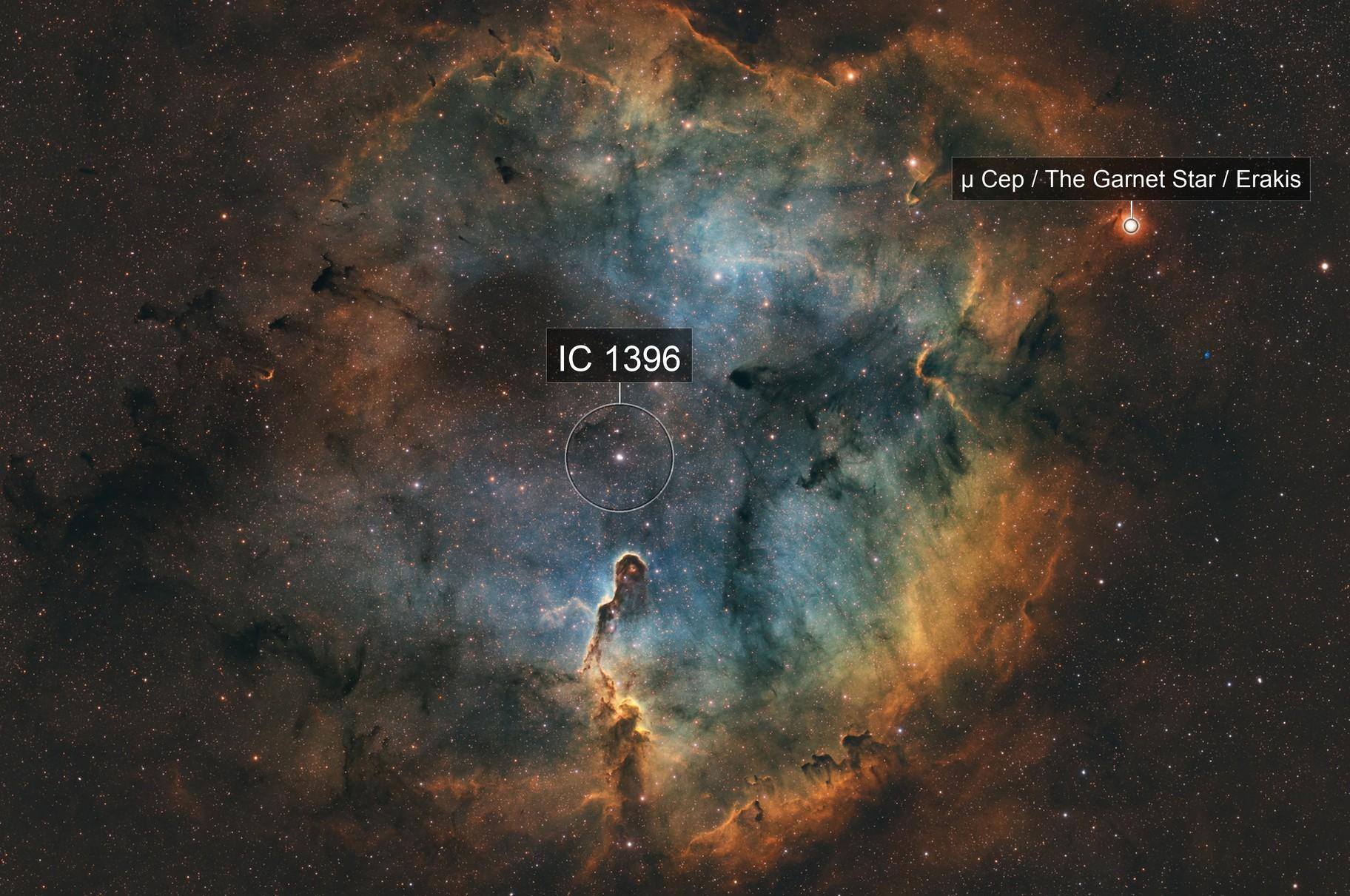 Elephant's Trunk Nebula (IC 1396) SHO
