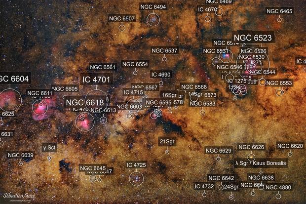 Grand champ dans le sagittaire de M16 à M20