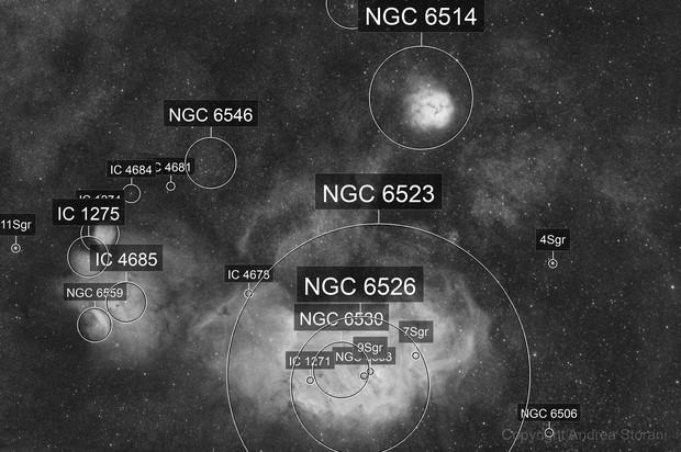 Lagoon and Trifid Nebulas H-alpha