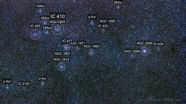 Open cluster wide field in Auriga (M 36, M 37, M 38)