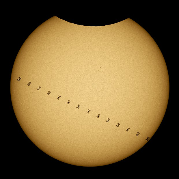 Three in a row - ISS transit while the partial solar eclipse,                                sushidelic