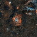 Champ autour de la Bulle (NGC7635) avec NGC7538 ,  M52 et une des pinces du Homard (SH2-157). Get