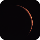 The copper moon - 5,9 %  (  53 hours after new moon ) Three degrees above the horizon,                                Jean-Marie MESSINA