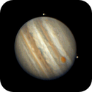 Jupiter rotation animation gif with Europa and Ganymede,                                morrienz