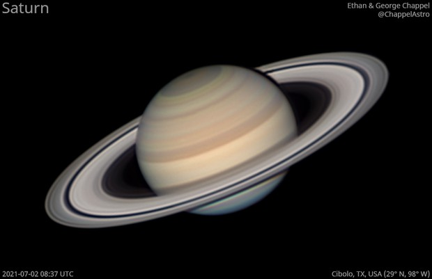 Saturn through Excellent Seeing on July 2, 2021,                                Chappel Astro