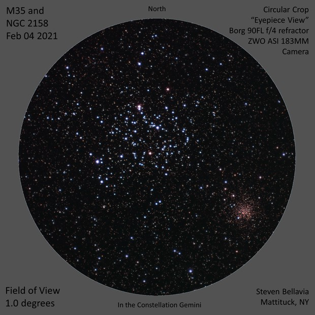 Open clusters M35 and NGC2158, in Gemini,                                Steven Bellavia
