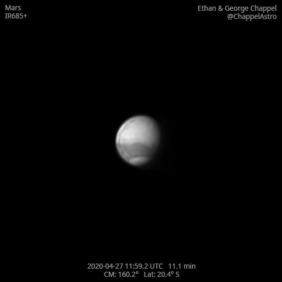 Mars in Infrared with Olympus Mons,                                Chappel Astro