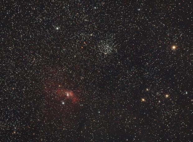M52 and Bubble Nebula,                                Hubble_Trouble