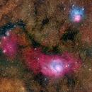 Lagoon Nebula and Trifid Nebula - M8 and M20,                                Rudy Pohl