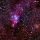 Cone Nebula region, 300 mm telephoto,                                Roger Clark