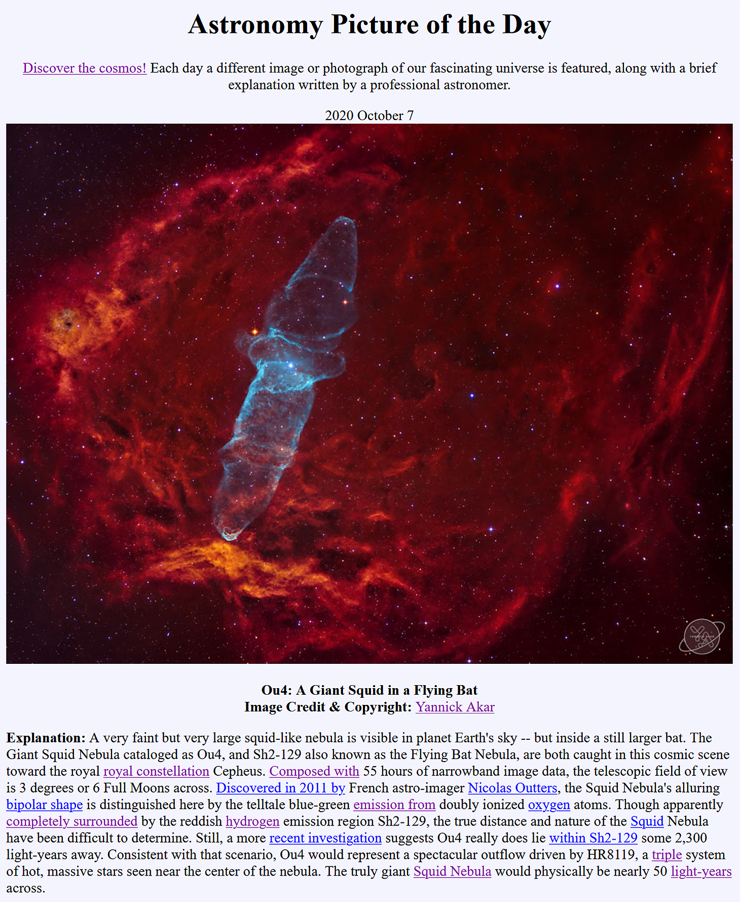 Sh2-129 & Ou4 - The Flying Bat and Giant Squid Nebula,                                Yannick Akar