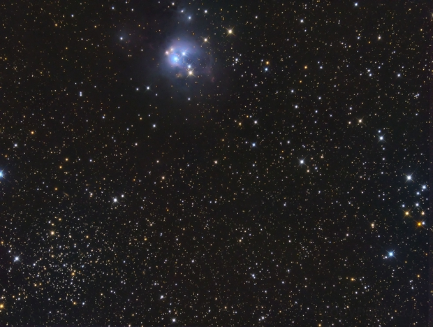 Nebula NGC 7129 and Open Cluster NGC 7142 in  Cep,                                GJL