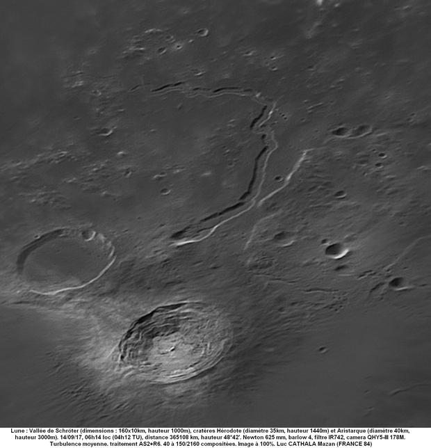 Vallis Schröter 14/09/2017 625mm barlow 4 filtre IR742 QHY5-III 178MM 100% Luc CATHALA,                                CATHALA Luc