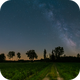 Panorama of the milky way with rising moon behind the trees,                                Markus A. R. Lang...