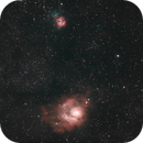 M8 and M20 in widefield, dodging clouds,                                Ian Dixon