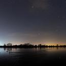Winter constellations over the Vistula river in Poland,                                Orionconstellation