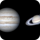 Apparent size of Jupiter and Saturn from Earth through the telescope.,                                FernandoSilvaCorrea