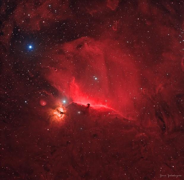 Horsehead Nebula & Flame Nebula in HOO,                                Yovin Yahathugoda