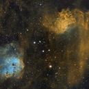 IC405 and IC410 - Flaming Tadpoles - 2-Pane Narrowband Mosaic,                                Eshan Toorabally