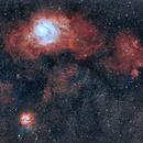 Lagoon and Trifid Nebulae region,                                cbaorion