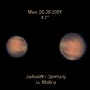 """good conditions for Mars today, 4,2"""" diameter, 13,3 meter efl,                                Uwe Meiling"""