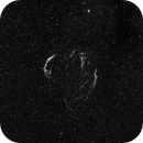 Veil Nebula in H-alpha at 85 mm,                                JDJ
