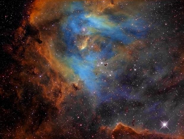 IC 2944, The Running Chicken Nebula in Narrowband HST Palette,                                rat156