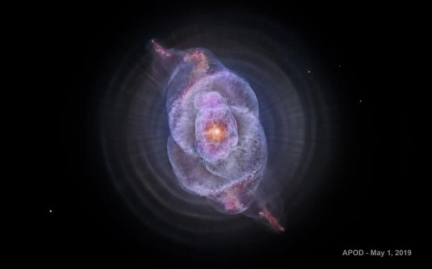 Cat's Eye Nebula, NGC 6543 - Hubble Telescope,                                Rudy Pohl