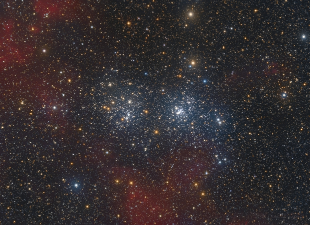 Double Cluster with some H-alpha Clouds,                                xordi