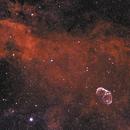 Crescent Nebula NGC 6888 and Cygnus Nebula Background HOO,                                Mehdi Abed