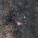 M8 and M20 lagoon and trifid nebulae,                                astro.matto