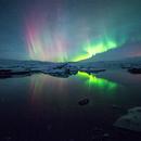 Aurora Borealis at Jokulsarlon, Iceland,                                Nico Carver