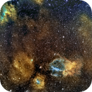 Bubble, Lobster Claw and Cave Nebula (NGC7635, SH2-157 and SH2-155), Hubble Palette,                                Eric Coles (coles44)