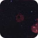 Simeis 147 enframed by other deep sky objects (M1, M35, M36, M37, M38, IC405, IC410, IC443),                                sternenwald