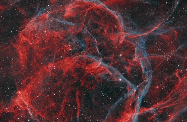 Space Crime Scene? - section of Vela SN remnant in bicolour HOO,                                robonrome