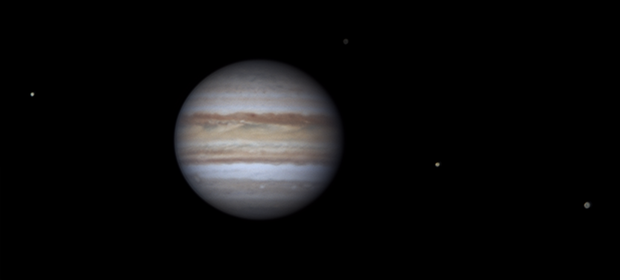 Jupiter and its four Galilean moons: 2019-03-29,                                Darren (DMach)