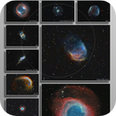 A collection of planetary nebulae in scale,                                Metsavainio