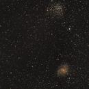 Offener Sternhaufen NGC 6939 und Galaxie NGC 6946 im Grenzbereich der Sternbilder Kepheus und Schwan,                                astrobrandy