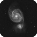 The M51 Galaxy, a BW image equal to a IRpassHa image taken 4. april-2021, CPH, Denmark,                                Niels V. Christensen