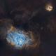 M8 lagoon nebula & M20 trifid nebula in sagitarius starless version.,                                lukfer