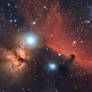 The dark horsehead nebula and flame nebula,                                Fabrizio-Guasconi