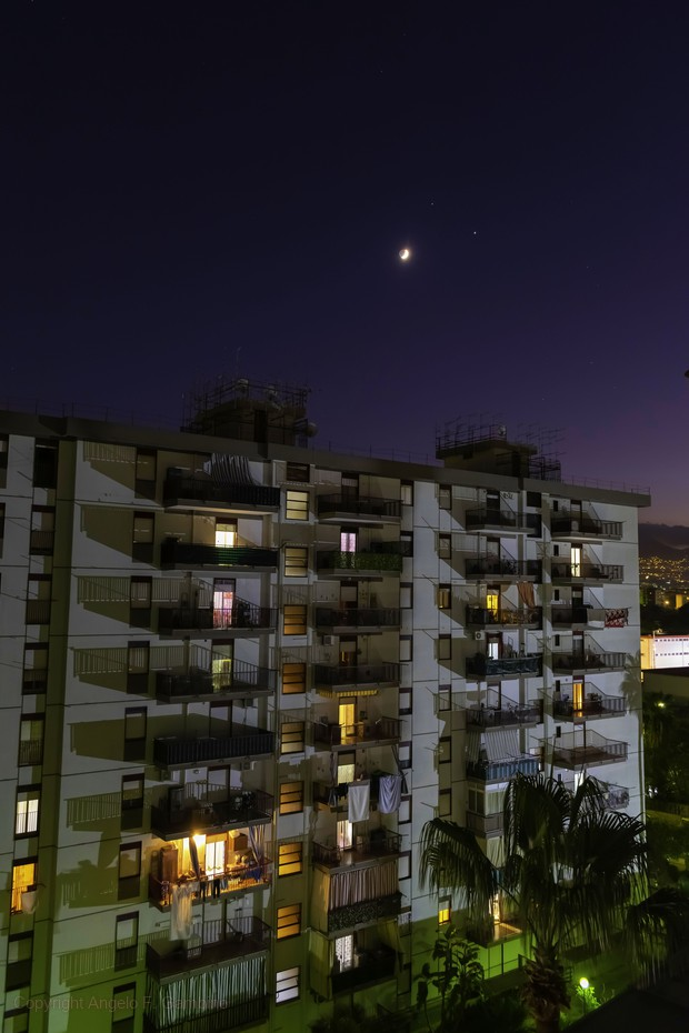 The Moon-Jupiter-Saturn conjunction over the city of Palermo,                                Angelo F. Gambino